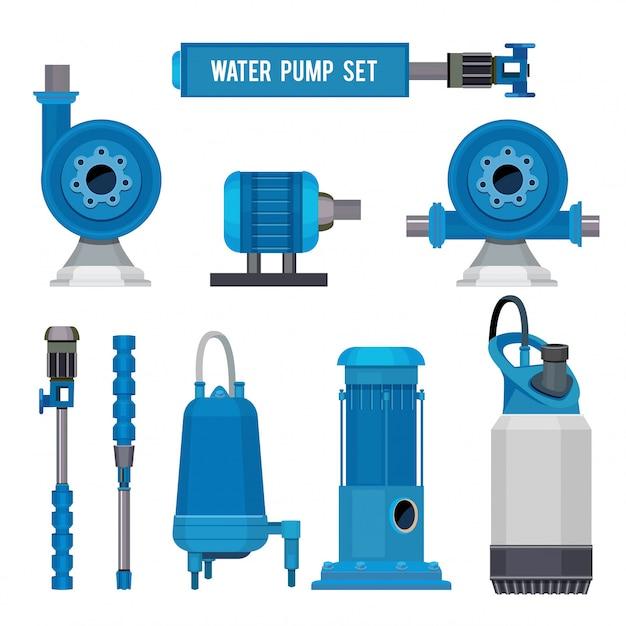 Водяные насосы, промышленное оборудование электронные насосы стальные системы канализационная станция aqua иконки Premium векторы