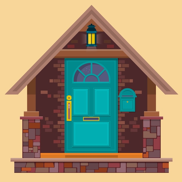 Aquamarine Front Door On The Brown Brick Wall With Lantern Cartoon