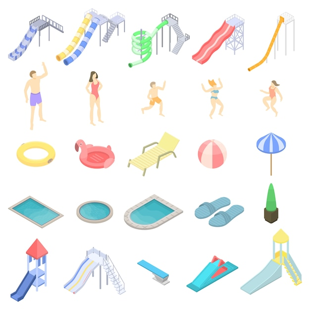 Aquapark icons set, isometric style Premium Vector