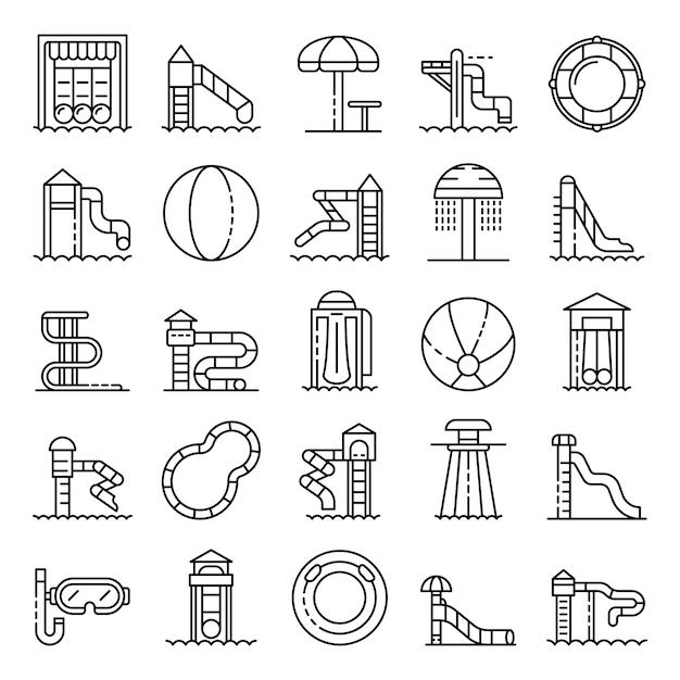 Aquapark icons set, outline style Premium Vector