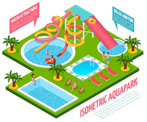 Aquapark isometric composition Free Vector