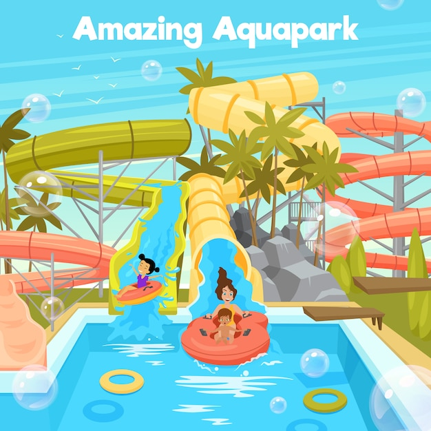 Aquapark poster template Free Vector