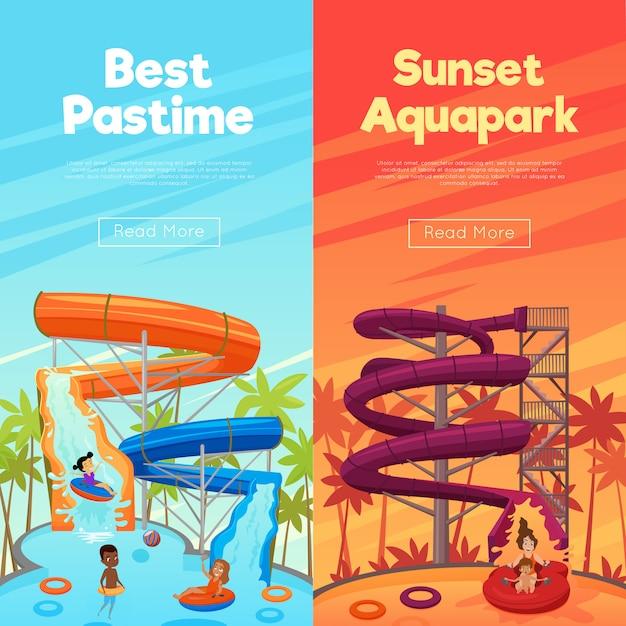 Aquapark vertical banners Free Vector