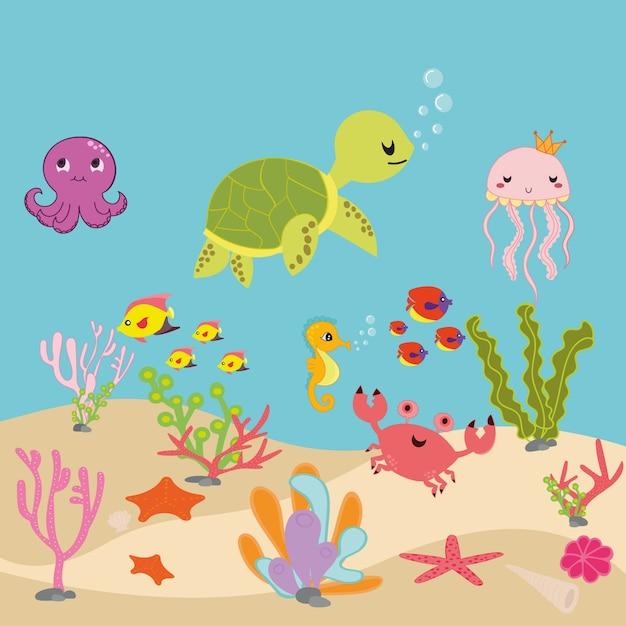 Aquarium Cartoon Or Ocean Underwater Cartoon Vector