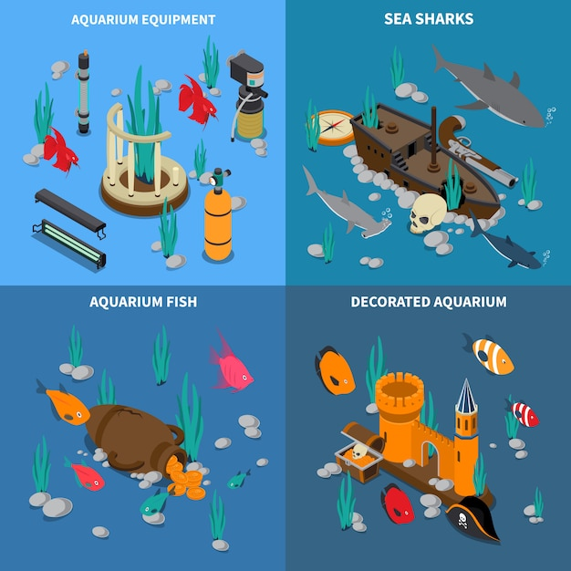 Icone di concetto dell'acquario messe Vettore gratuito