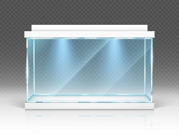 수족관 유리 상자, 투명에 백라이트가있는 테라리움 무료 벡터