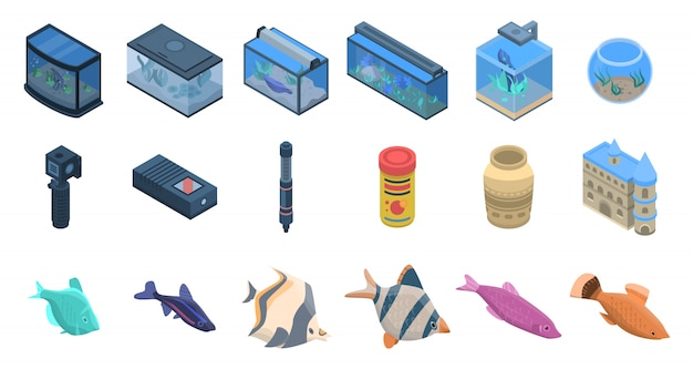 Aquarium icons set. isometric set of aquarium vector icons for web design isolated on white background Premium Vector