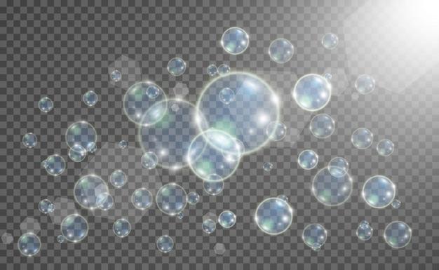 Аквариум на прозрачном фоне. иллюстрация реалистичные пузыри. Premium векторы