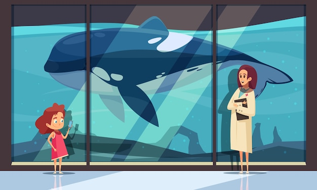シャチと水族館の壁 無料ベクター
