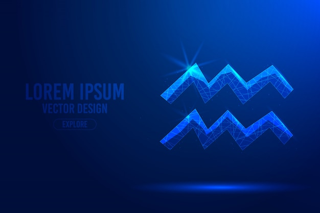 Aquarius eleventh zodiac sign abstract background. linear and polygonal 3d concept of horoscope, celestial constellation. Premium Vector