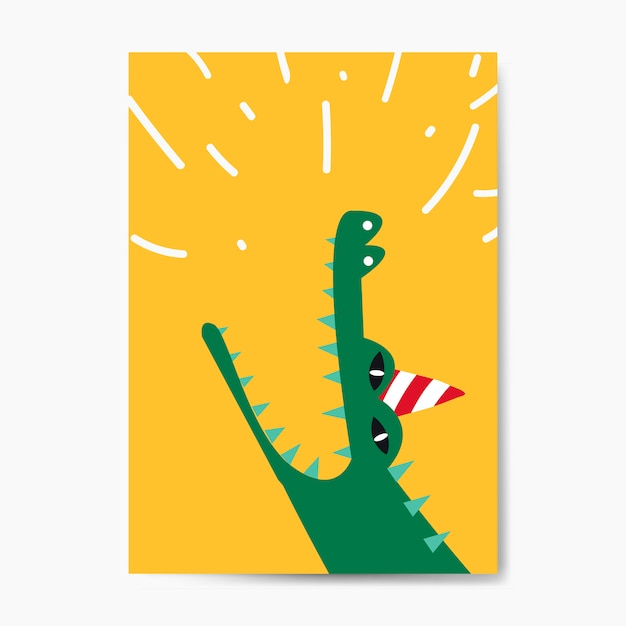 Aquatic cartoon crocodile wearing a party hat Free Vector