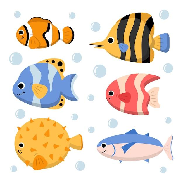 광대 물고기 복어와 고등어와 수생 캐릭터 세트 무료 벡터