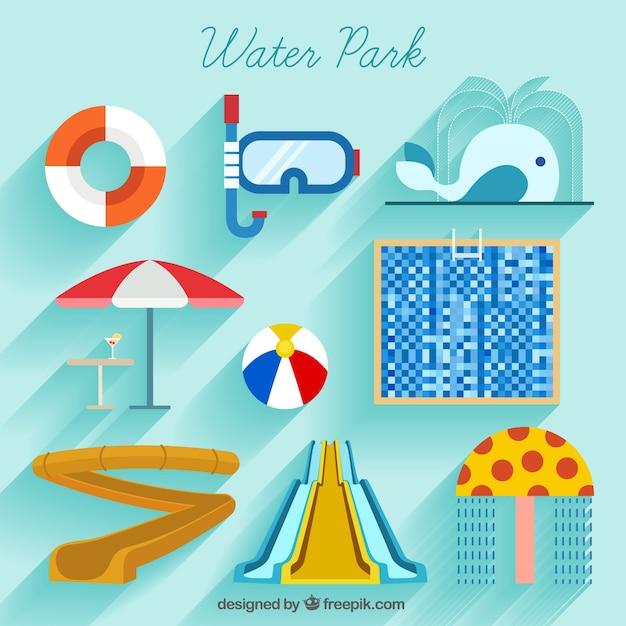 Aquatic park and summer elements in flat design Free Vector
