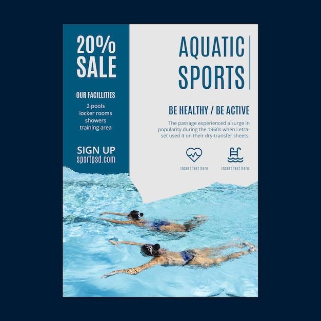 Aquatic sports flyer template Premium Vector