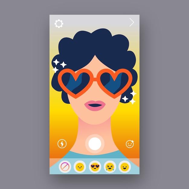 Ar instagram filter design Free Vector