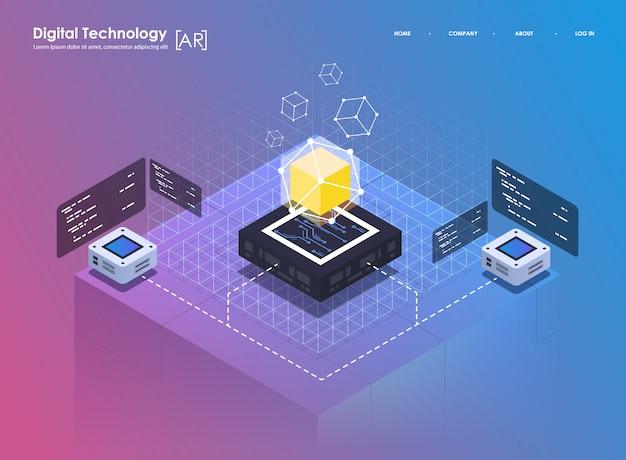 等尺性デザインコンセプトの仮想現実と拡張現実。 arおよびvr開発。ウェブサイト向けデジタルメディアテクノロジー Premiumベクター