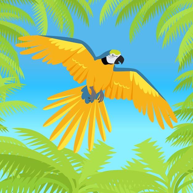 Ara parrot flat design vector illustration Premium Vector