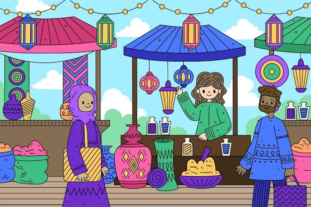 Арабский базар счастливые люди ищут продукты Бесплатные векторы