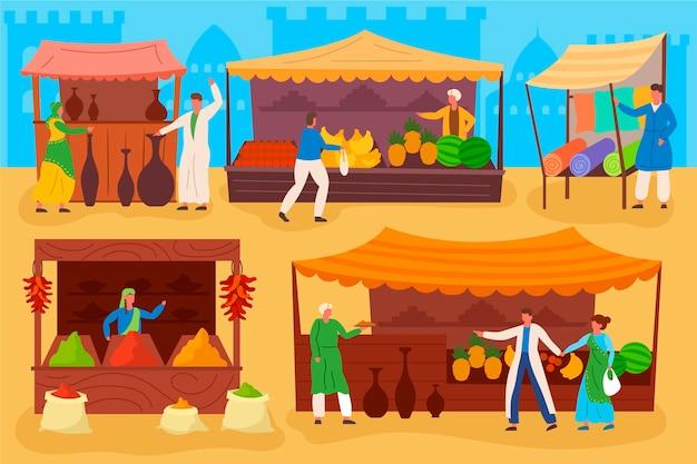 Арабский базар с фруктами и овощами Бесплатные векторы