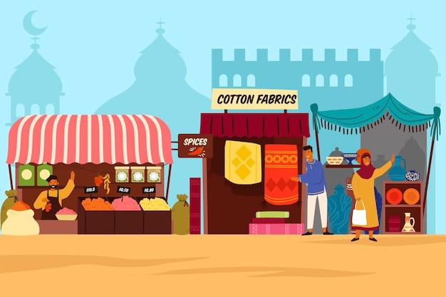 Концепция иллюстрации арабского базара Бесплатные векторы