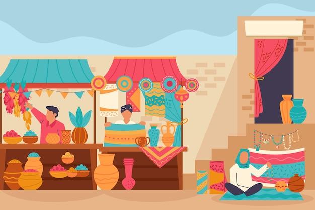 Арабский базар иллюстрация с персонажами Бесплатные векторы