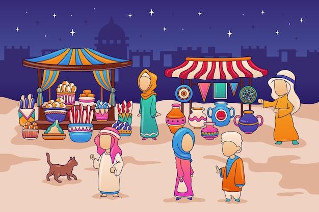 Арабский базар иллюстрация с купцами и покупателями Бесплатные векторы