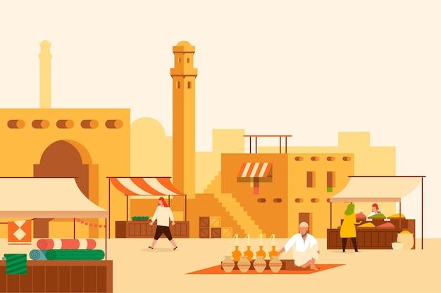 Арабский базар иллюстрация с купцами и покупателями Premium векторы