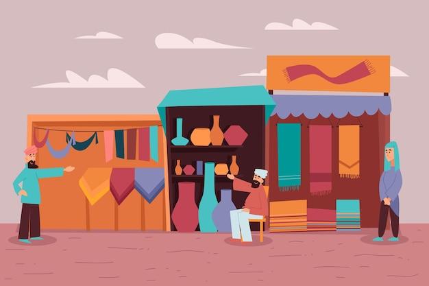 Арабский базар иллюстрация с людьми Бесплатные векторы