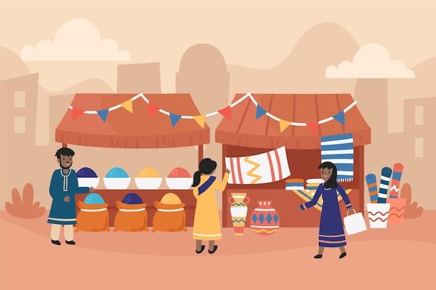Арабский базар иллюстрация Бесплатные векторы
