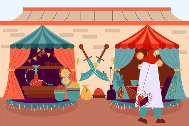 Арабский базар в симпатичных палатках Бесплатные векторы