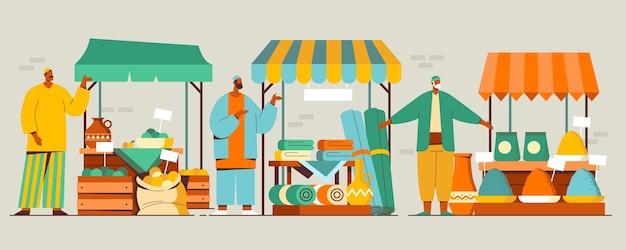 Illustrazione del mercato del bazar arabo Vettore gratuito
