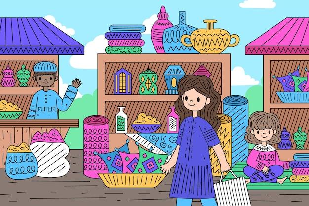 Арабский базар продавец и покупатель Бесплатные векторы