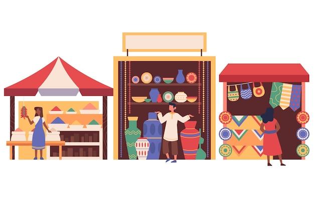 Арабский базар по продаже качественных ковров Бесплатные векторы