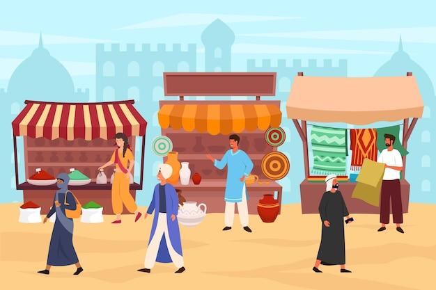 Арабский базар, где люди гуляют и покупают продукты Premium векторы