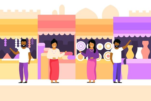 Арабский базар с покупателями и продавцами Бесплатные векторы