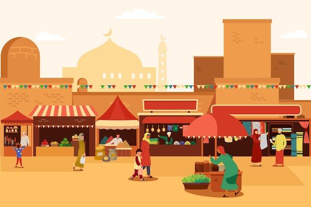 Арабский базар с людьми, покупающими продукты Premium векторы