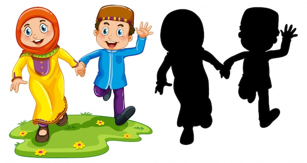 Arab  boy and girl in traditional clothing in color and silhouette  on white background Free Vector