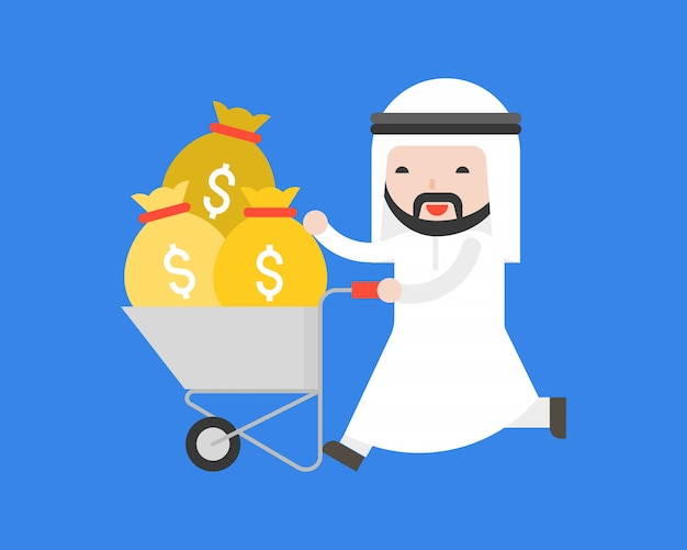 Arab business man push cart with money bag Premium Vector