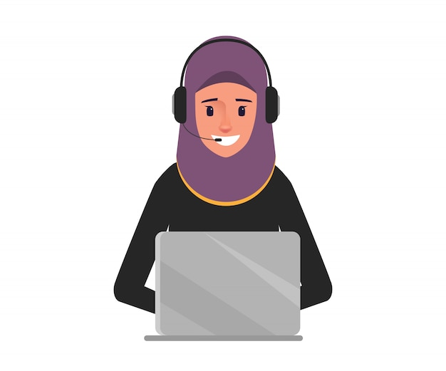 Arab business woman in call center character. Premium Vector