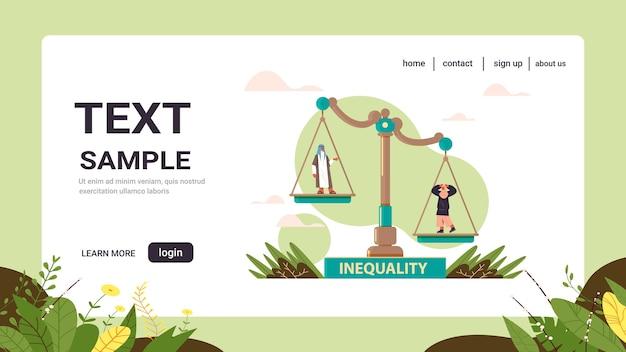 アラブのビジネスマンとビジネスウーマンスケールビジネス企業不平等コンセプトジェンダー男性対女性の不平等な機会コピースペース Premiumベクター
