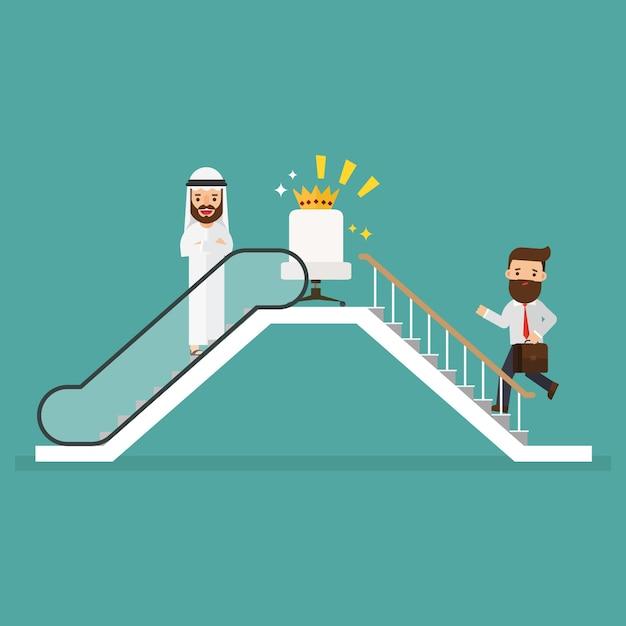 Arab businessman and businessman who use escalator Premium Vector