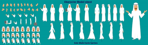 Arab businessman character model sheet with walk cycle animation sprites sheet Premium Vector
