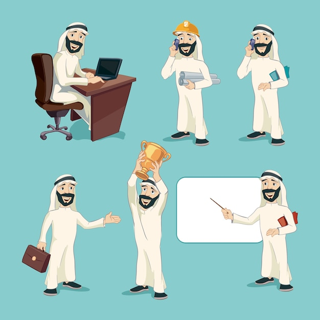 Arab businessman in different actions. vector cartoon characters set. worker person, professional manager, smiling and expression, arabic clothing Free Vector