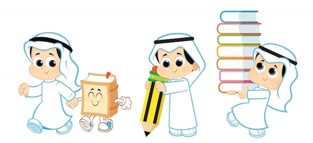 アラブの子供、学校に戻る Premiumベクター