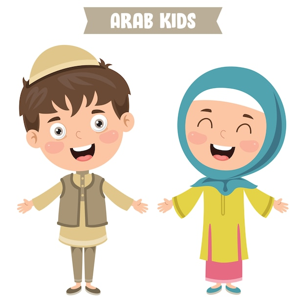 Arab children wearing traditional clothes Premium Vector