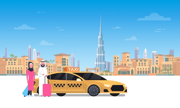 Arab couple sitting in yellow taxi car over dubai city Premium Vector