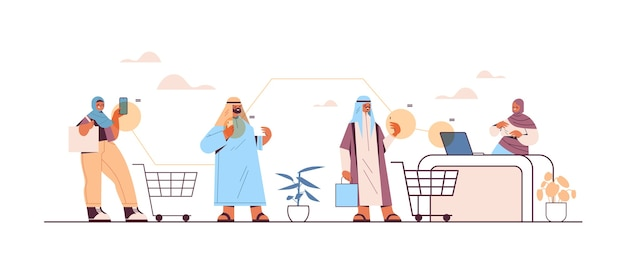 アラブの顧客がスマートフォンを使ってレジのオンラインショッピングでeコマースをスマートに購入 Premiumベクター