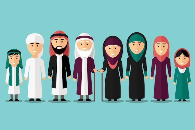 Famiglia araba. personaggi musulmani piatti. persone tradizionali islam cultura, uomo e donna, illustrazione vettoriale Vettore gratuito