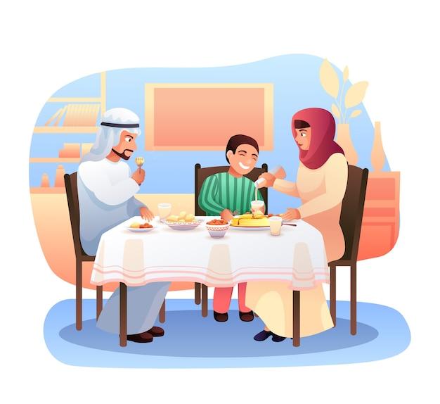 夕食のフラットイラストを持っているアラブの家族 Premiumベクター