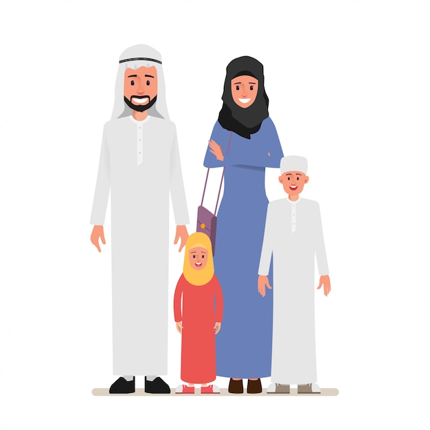 Arab family people character with parent. Premium Vector